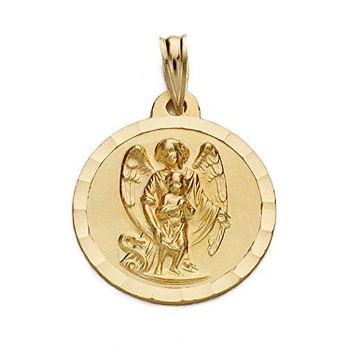 Médaille pendentif 18k gardien d'or ange 18mm. [AA0526GR] - personnalisable - ENREGISTREMENT inclus dans le prix