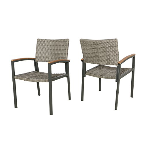 Great Deal Furniture 305313 Emma Outdoor Wicker Dining Chair with Aluminum Frame (Set of 2), Gray