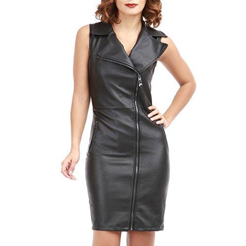 La Modeuse Robe en simili cuir sans manche style biker Noir