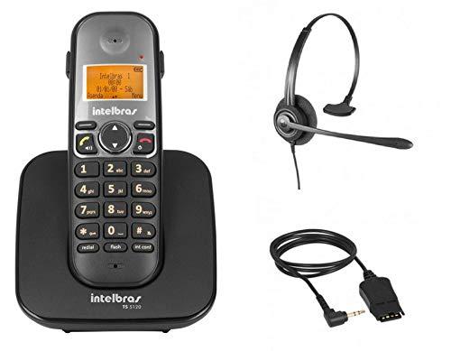 Kit Telefone sem fio digital TS 5120 Intelbras DECT 6.0 Viva Voz Preto + Headset CHS 60 Intelbras
