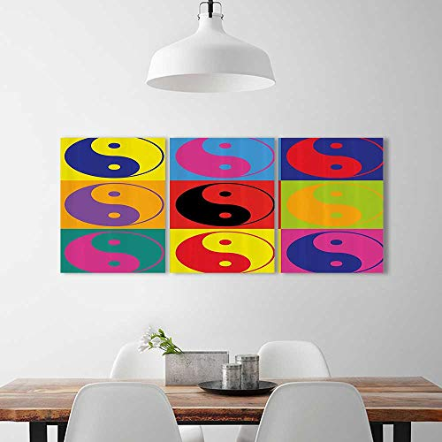3 Piece Wall Art Painting Frameless Pop Yin Yang Signs Hippie Style Eastern Asianatis Peace And Posters Wall Decor Gift W12  X H32  X 3Pcs