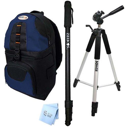 SAVEoN Pro 59'' Tripod, 72'' Monopod, and Black/Blue Sling Backpack + SAVEoN MicroFiber Cleaning Cloth for Pentax K, KX, K-R by SAVEoN