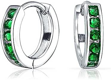 Bling Jewelry Simulated Emerald CZ Huggie Hoops 925 Silver