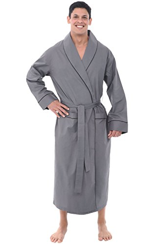 Alexander Del Rossa Mens Lightweight Cotton Robe, XL Steel Grey (A0715STLXL)
