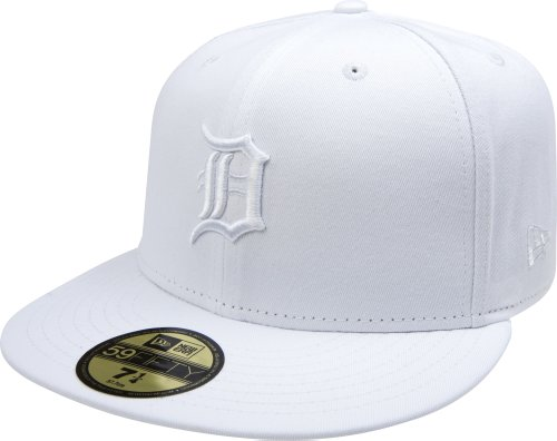 MLB Detroit Tigers White on White 59FIFTY Fitted Cap, 6 7/8