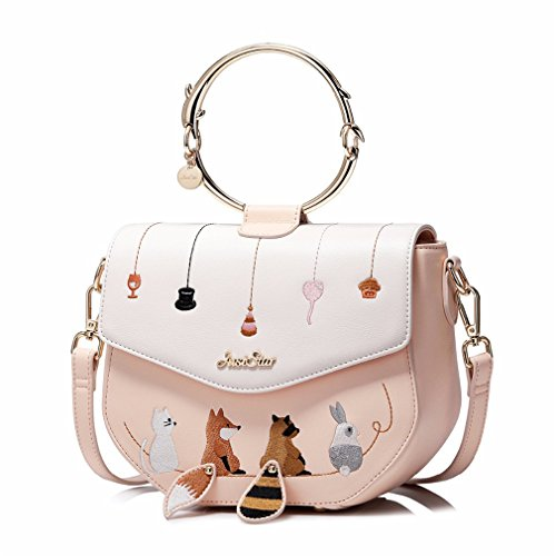 Animals Tote Ring Embroidery Pink Messenger Handle Bags Female Leather Women Handbag nIwqYpZE