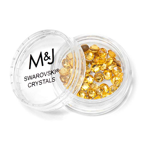 Light Yellow Rhinestones - Swarovski Crystals Flat Back Rhinestones - 2088 Xirius Rose Round Foil Backed - SS16 (3.8mm-4mm) - Light Topaz 226 (Yellow)