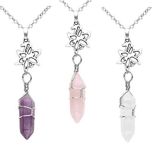 Top Plaza Hexagonal Reiki Healing Crystal Pointed Chakra Column Natural Gemstone Pendant Silver Flower Necklace - 3pcs(Amethyst+Rose Quartz+White Crystal) - Hexagonal Column