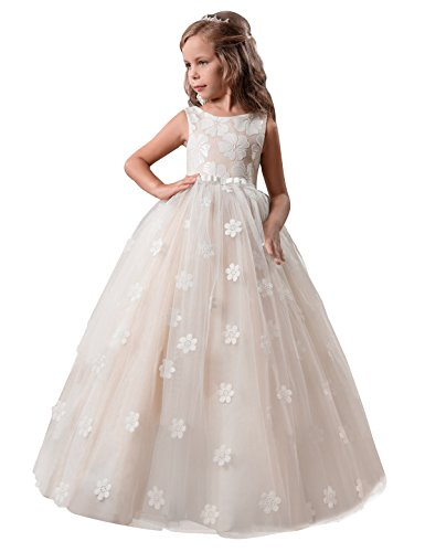- TTYAOVO Girls Pageant Princess Flower Dress Kids Prom Puffy Tulle Ball Gowns Size 10-11 Years Champagne