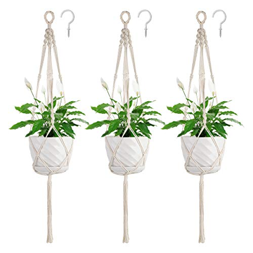 Soonow Macrame Plant Hangers, Hanging Planters for Indoor Plants With Hooks, Set of 3