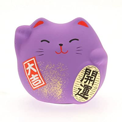 Kotobuki Maneki Neko Charm Ningenkankei-un Collectible Figurine, Friendship, Purple