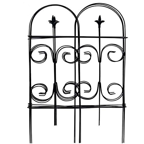Amagabeli Decorative Garden Fence 32in x 12ft Fencing Rustproof Black Iron with Fleur De Lis Decoration Folding Wire Patio Fencing Border Edge Sections Edging Flower Bed Barrier Decor Patio Fences]()