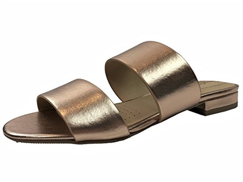 Slip Slide Strap Sandal Low Rose Heel Two Flat Gold Soda On Womens KSEqYwHZ8
