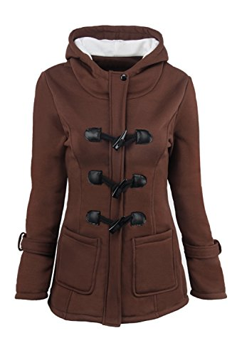 Outcoat Capucha Casual Mujer Size Plus Con Algodon Sevozimda Manga La Brown Solido Parkas Larga qEI5nv