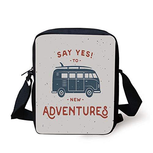 Vintage Decor,New Adventures Typography with Little Van Hippie Lifestyle Free Spirit,Cadet Blue White Print Kids Crossbody Messenger Bag Purse