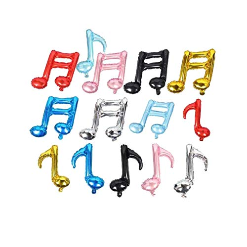 12pcs Single Music Note Foil Balloons Birthday Party Dance Prom Band School Concert Decoration Accessory, Assortment -