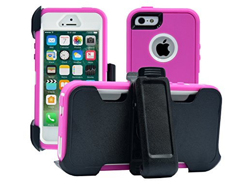 iPhone 5 / 5S / SE Cover | 2-in-1 Screen Protector & Holster Case | Full Body Military Grade Edge-to-Edge Protection with carrying belt clip | Drop Proof Shockproof Dustproof | Pink / White