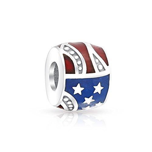 Patriotic American Flag USA Stars Stripes Charm Bead For Women For Teen 925 Sterling Silver Fits European Bracelet