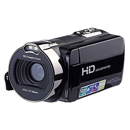 KINGEAR HDV-312 24MP HD 1080P 2.7″ LCD Scrren Digital Video Camcorder with 16x Digital Zoom 270°Rotation (Black)