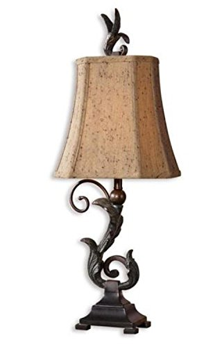 Pack of 2 Matte Black and Verdigris Leaf Buffet Table Lamps 24