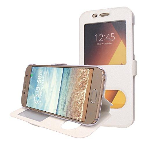 Galaxy A3 2017 Funda Libro, Galaxy A320 Flip Case Cover, Moon mood PU Cuero Cubierta Piel con Tapas Interior Dura PC Parachoque para Samsung Galaxy A3 2017 SM-A320 4.7 pulgada a Prueba de Choques Prot Blanco
