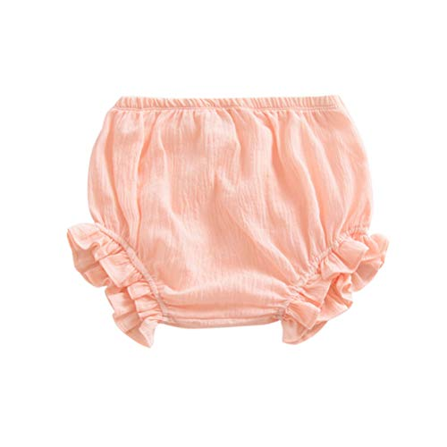 Newborn Toddler Baby Girls Kids Cotton Linen Bloomer Shorts Diaper Cover (Pink, 3-9M)