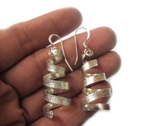 Hill Tribe Silver 45mm - WEIGHT 8.41 G. NICE!! BEAUTIFUL THAI KAREN HILL TRIBE SILVER EARRING SIZE 15 x 45 MM.