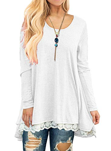 Long Sleeve Tunic Top Blouse White-S ()