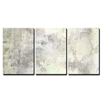 3 Piece Canvas Wall Art - Art Abstract Acrylic Background in Light Grey and White Colors - Modern Home Art Stretched and Framed Ready to Hang - 16