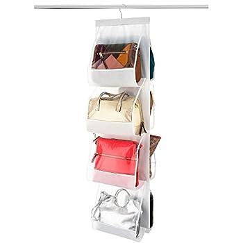 ZOBER Hanging Purse Organizer, Breathable Nonwoven Handbag Organizer, 8 Easy Access Clear Vinyl Pockets, White, 48 L x 12 W