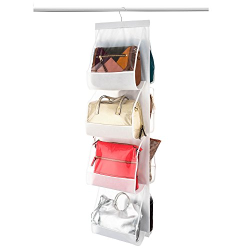 ZOBER Hanging Purse Organizer, Breathable Nonwoven Handbag Organizer, 8 Easy Access Clear Vinyl Pockets, White, 48 L x 12 W]()