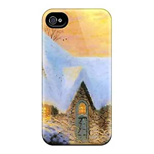 Fashionable ITN878noCD Iphone 4/4s Case Cover For Christmas Tree Cottage Protective Case