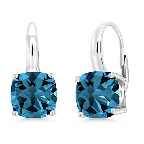 - Gem Stone King London Blue Topaz 925 Sterling Silver Earrings 5.48 Ct Cushion Cut Gemstone Birthstone 8MM