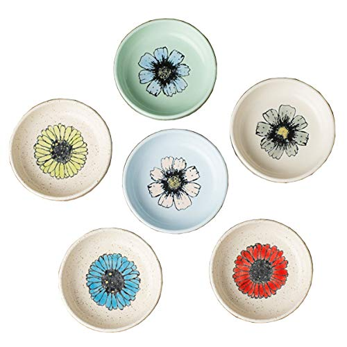 - Floral Style Hand-Paint Flower Printed Ceramic Seasoning Dishes Side Dish Dipping Bowl Vinegar/Soy Sauce/Cream Dish-Set of 6