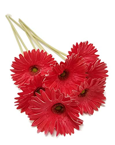 FRP Flowers Real Touch Latex 24 inch Gerbera Daisy for Bouquets, vase Arrangements, Home/Office Decor (Pack of 5) (Red)