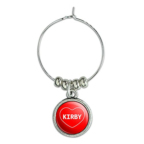 Wine Glass Charm Drink Marker I Love Heart Names Male K Kevi - Kirby (Kirby Wine Glasses compare prices)