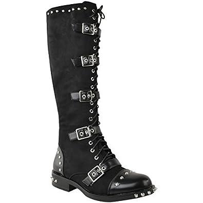 Damen Stiefel mit kniehohem Schaft - Spike-Nieten-Details - im Punk-/