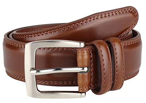 (Men's Dress Belt ALL Genuine Leather Double Stitch Classic Design 35mm Size 42 Tan)