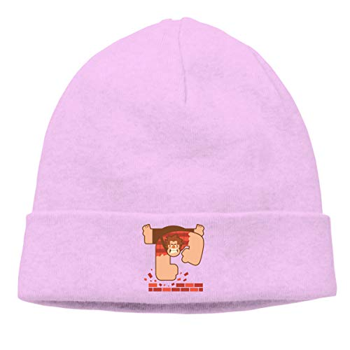 (Gaoger Mens & Womens Wreck It Ralph Skull Beanie Hats Winter Knitted Caps Soft Warm Ski Hat Pink)
