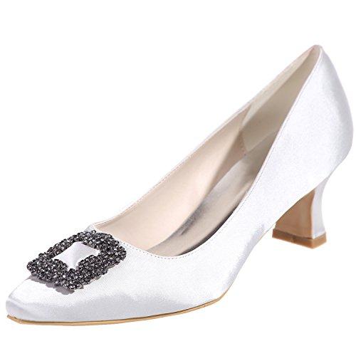 Loslandifen Femmes Pionted Toe Satin Chaton Talons Strass-incrusté Parti Chaussures De Mariage Blanc
