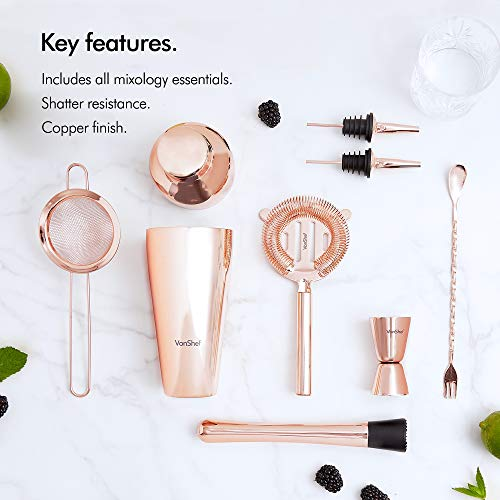 VonShef Parisian Cocktail Shaker Barware Set in Gift Box with Recipe Guide, Cocktail Strainers, Twisted Bar Spoon, Jigger, Muddler and Pourers, Copper, 9 Piece Set, 17oz by VonShef (Image #2)