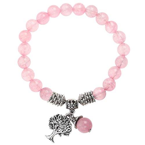 Jovivi 8MM Natural Rose Quartz Gemstone Healing Point Tree of Life Lucky Charm Stretch Bracelet