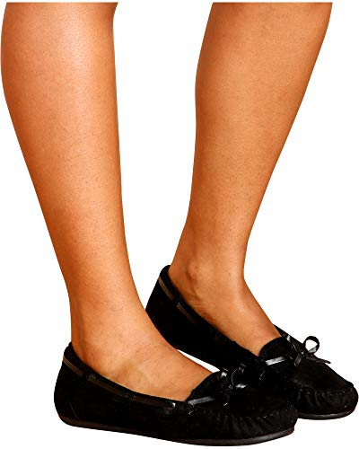 Wells Women's Casual Faux Suede Fur Lined Slip On Flat Moccasins Black