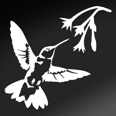 Hummingbird Nectar (White - Reverse Image - Small) Decal Sticker - Backyard Bird - Us Contact Nectar
