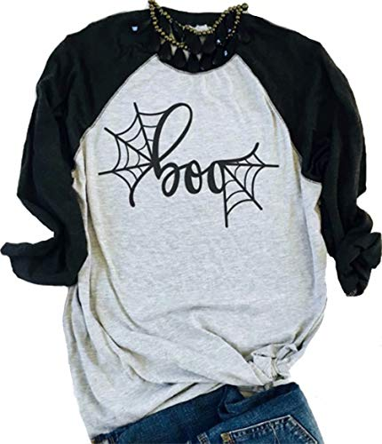 (DUTUT Funny Halloween Boo T Shirt Woemns Raglan Long Sleeve Spider Web Graphic Tees Fall Shirt Size L (White))