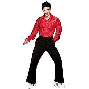 WIDMAN - Camisa para hombre estilo años 70 (talla M), color rojo