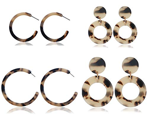 Jindorla 4 Pairs Acrylic Earrings, Sterling Silver Post Hoop Stud Earrings Statement Earrings Fashion Jewelry for Women Girls (4 Pairs Acrylic Hoop)