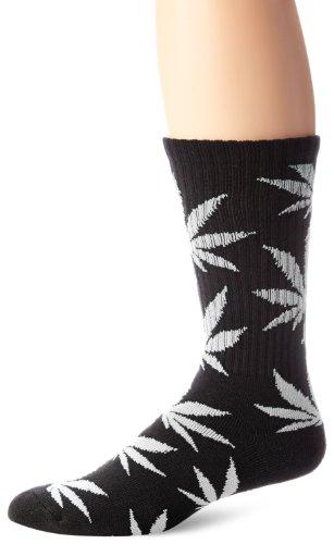 HUF Men's Plantlife Crew Sock, Black/White, One Size