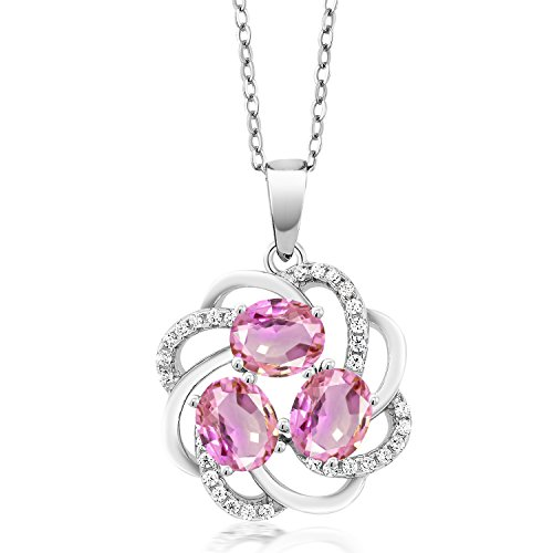 - 2.00 Ct Oval Pink Sapphire 925 Sterling Silver Pendant