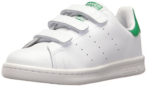 (adidas Originals Boys' Stan Smith CF C Running Shoe, White/Green, 2 Medium US Little Kid)